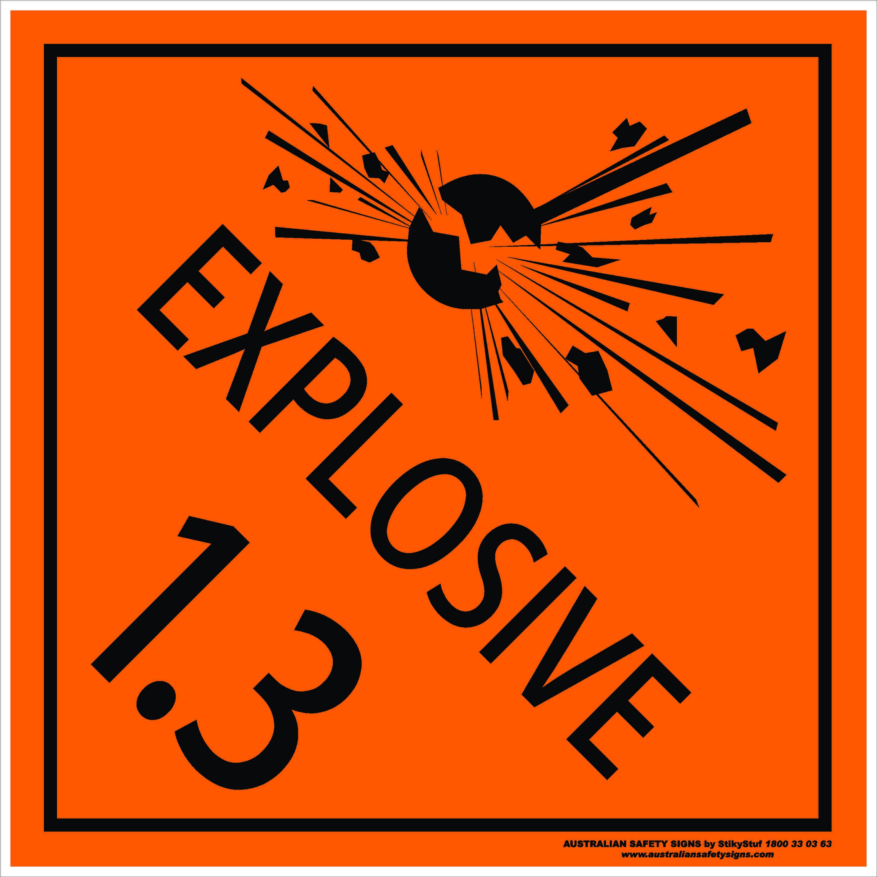 Hazchem Signs CLASS 1 - EXPLOSIVE 1.3
