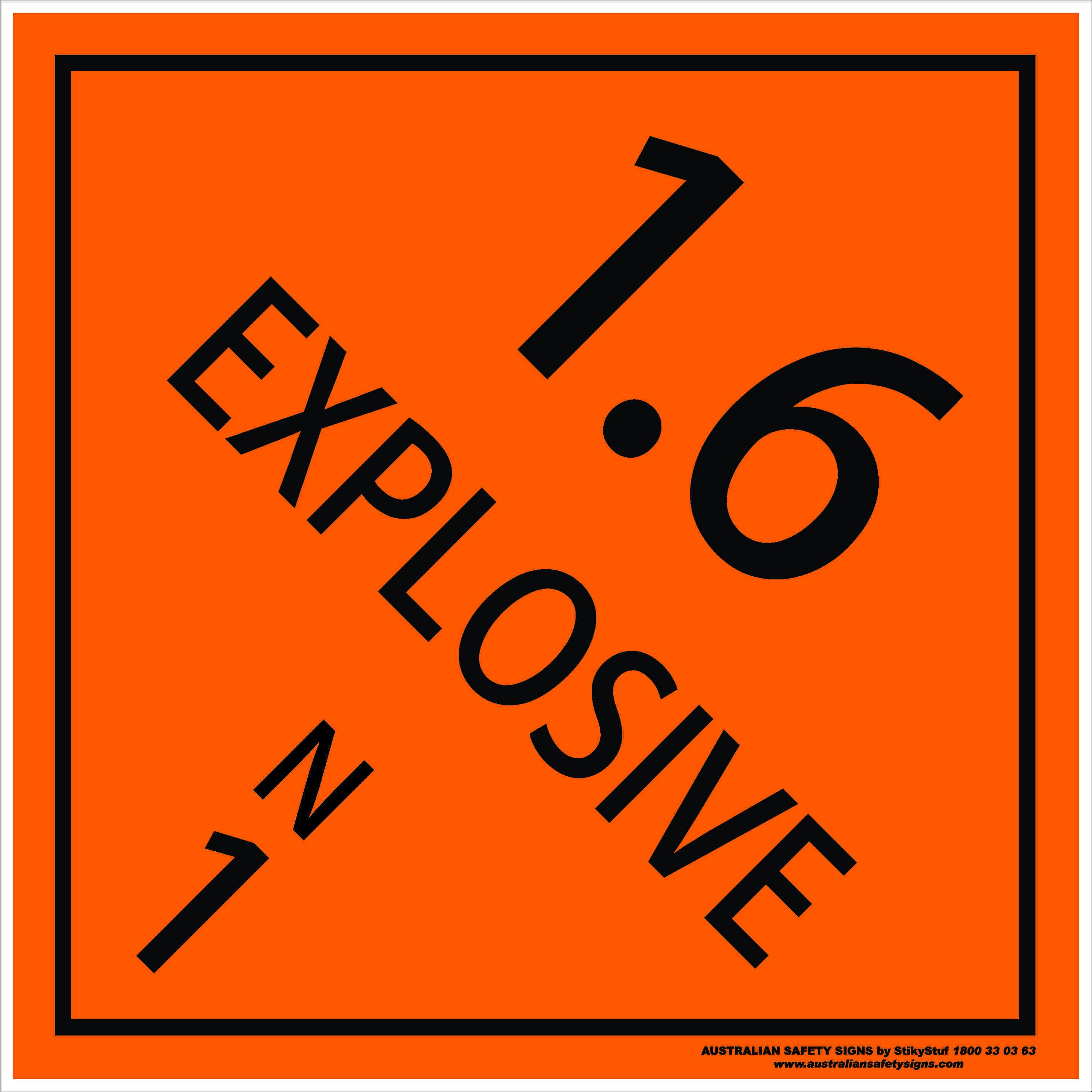 Hazchem Signs CLASS 1 - EXPLOSIVE 1.6