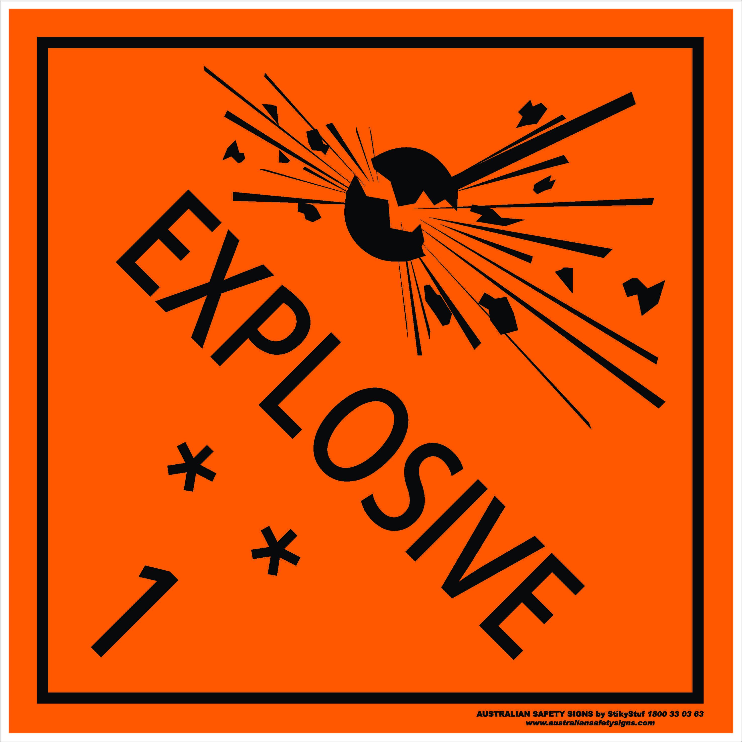 Hazchem Signs CLASS 1 - EXPLOSIVE 1