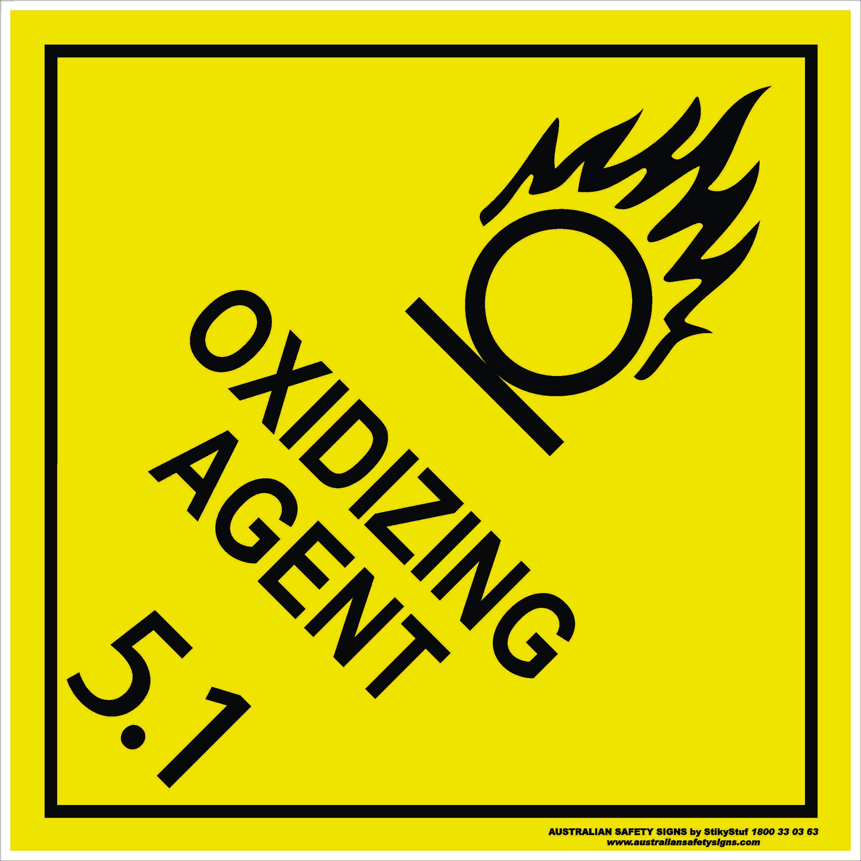 Hazchem Signs CLASS 5 - OXIDIZING AGENT 5.1