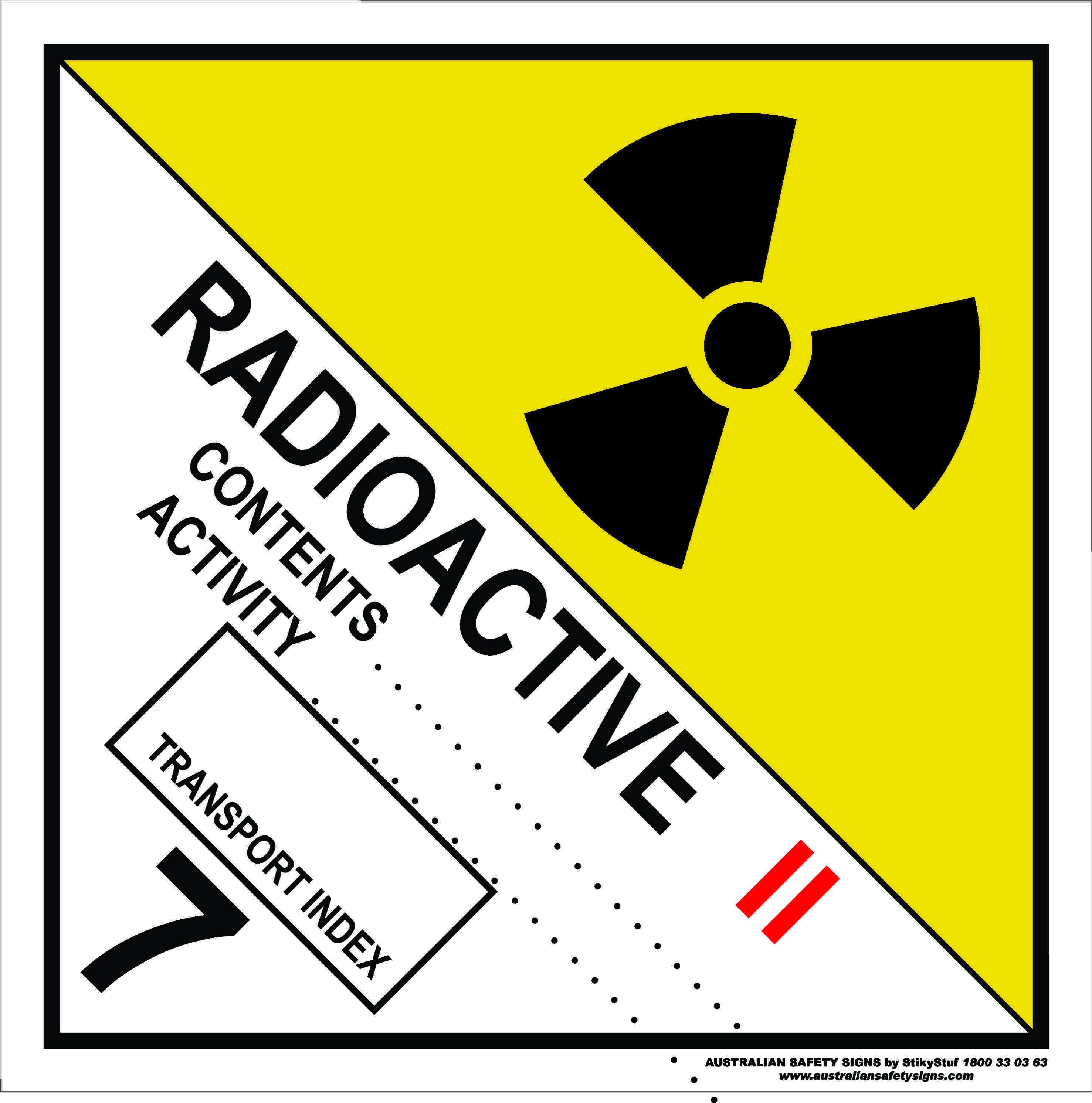 Hazchem Signs CLASS 7 - RADIOACTIVE - CATEGORY 2