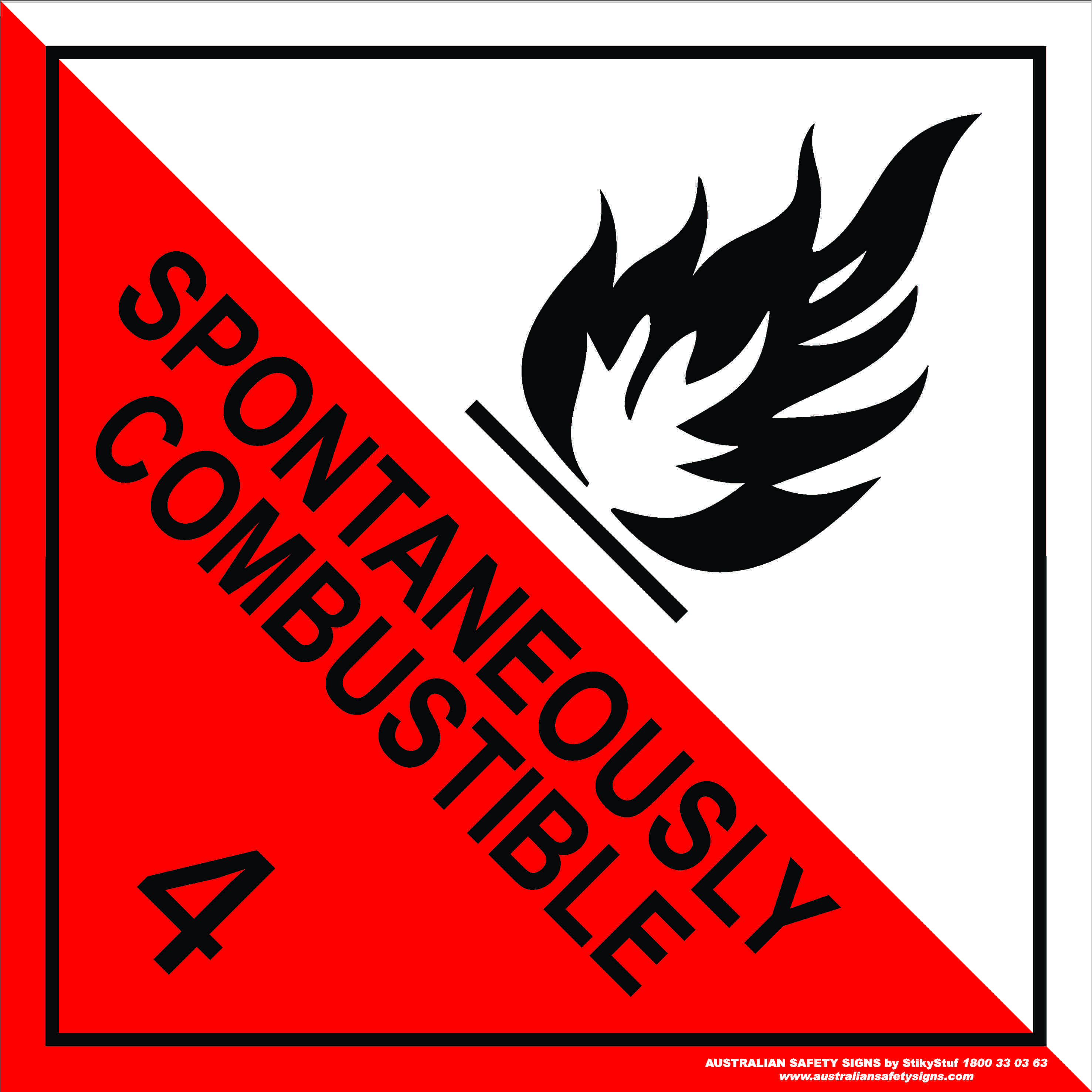 Hazchem Signs CLASS 4 - SPONTANEOUSLY COMBUSTIBLE