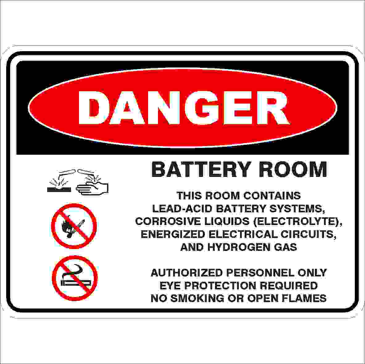Danger Signs BATTERY ROOM - DETAILED