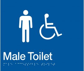 Braille Signs Male Accessible Toilet Sign MDT-BLUE