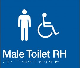 Braille Signs Male Accessible Toilet Right Hand Sign MDTRH-BLUE