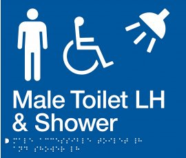 Braille Signs Male Accessible Toilet Left Hand & Shower Sign MDTSLH-BLUE