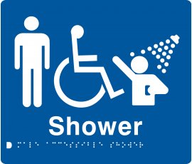 Braille Signs Male Accessible Shower Sign MDS-BLUE