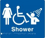 Braille Signs Female Accessible Shower Sign FDS-BLUE