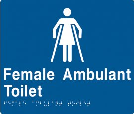 Braille Signs Female Ambulant Toilet Sign FAT-BLUE