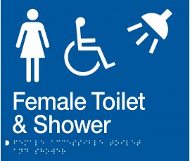 Braille Signs Female Accessible Toilet & Shower Sign FDTS-BLUE