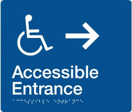 Braille Signs Accessible Entrance Right Sign AE-RIGHT-BLUE