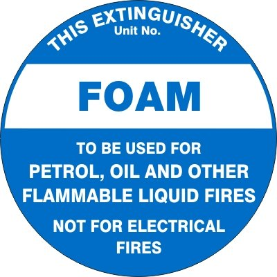 Fire Safety Signs EXTINGUISHER ID MARKER FOAM