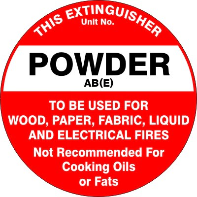 Fire Safety Signs EXTINGUISHER ID MARKER POWDER ABE