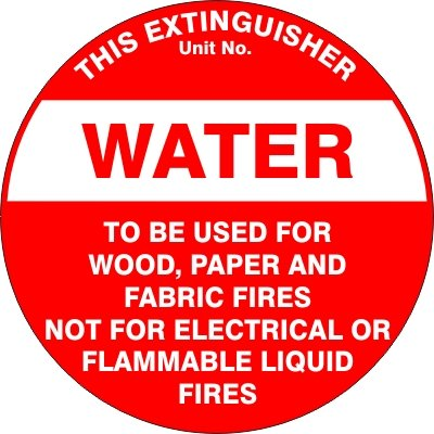 Fire Safety Signs EXTINGUISHER ID MARKER WATER
