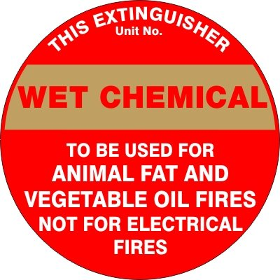 Fire Safety Signs EXTINGUISHER ID MARKER WET CHEMICAL
