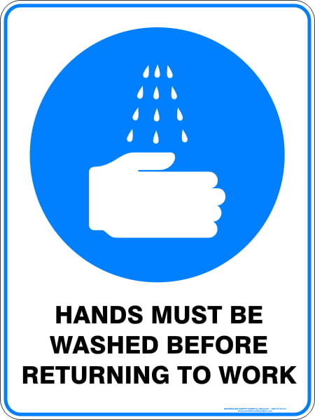 Mandatory Signs HANDS MUST BE WASHED BEFORE RETURNING TO WORK