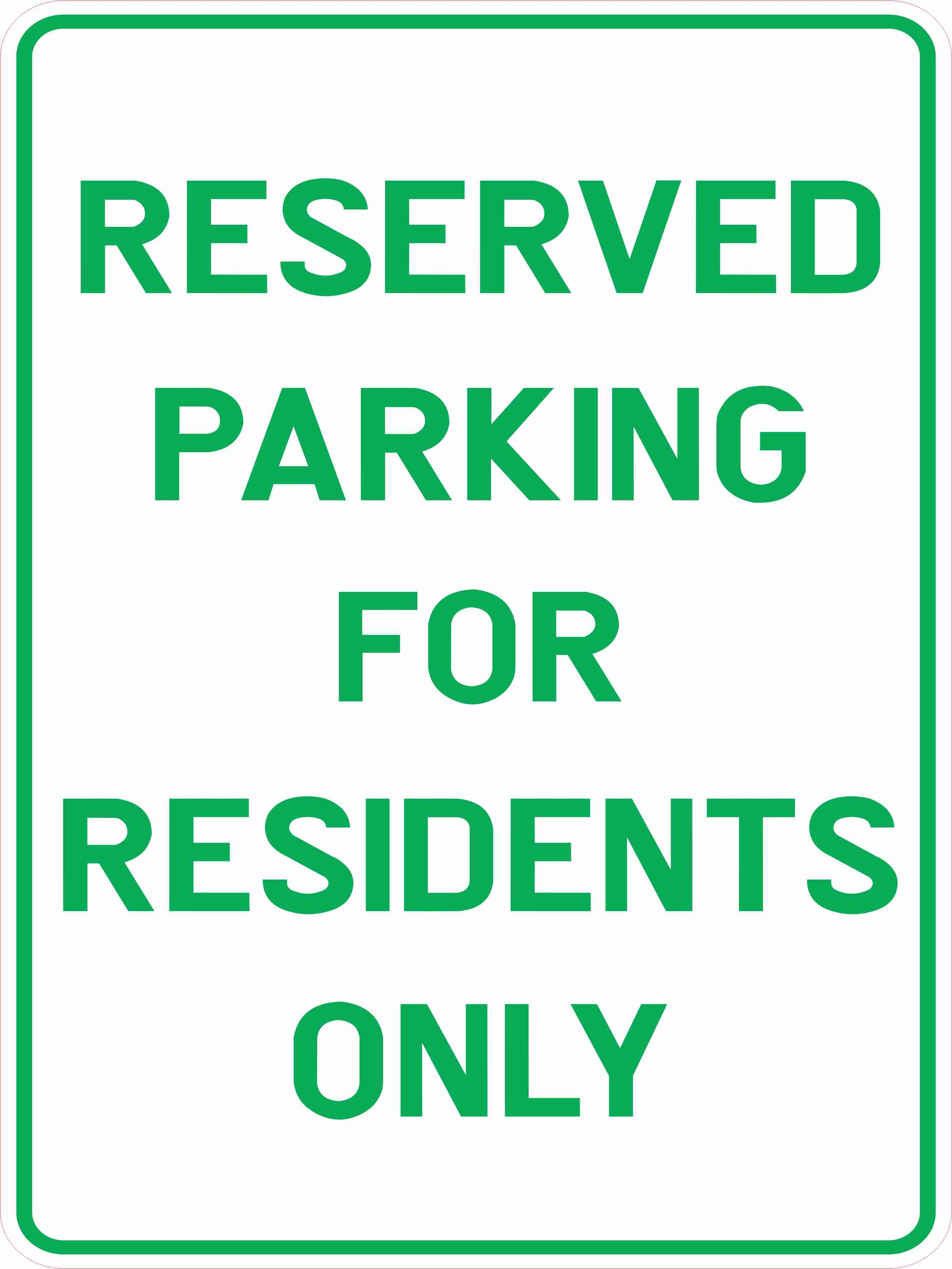 Parking Signs RESERVED PARKING FOR RESIDENTS ONLY