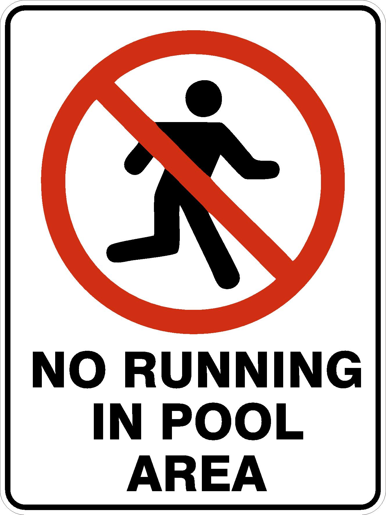 Pool Safety Signs NO RUNNING IN POOL AREA