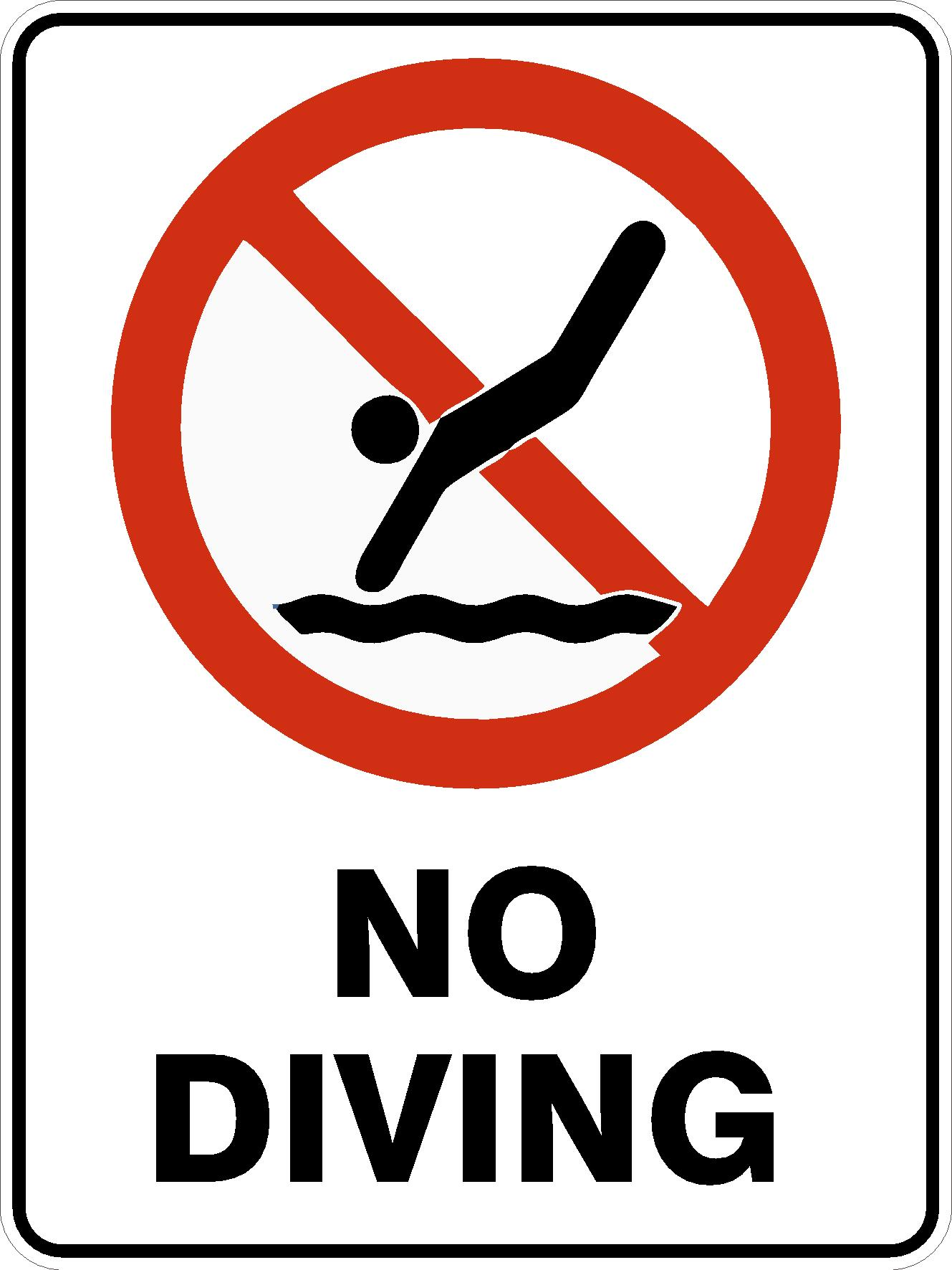 Pool Safety Signs NO DIVING