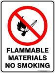 Prohibition Signs FLAMMABLE MATERIALS NO SMOKING