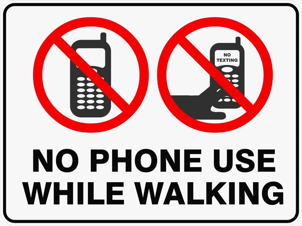 No Phone Use While Walking Discount Safety Signs New Zealand