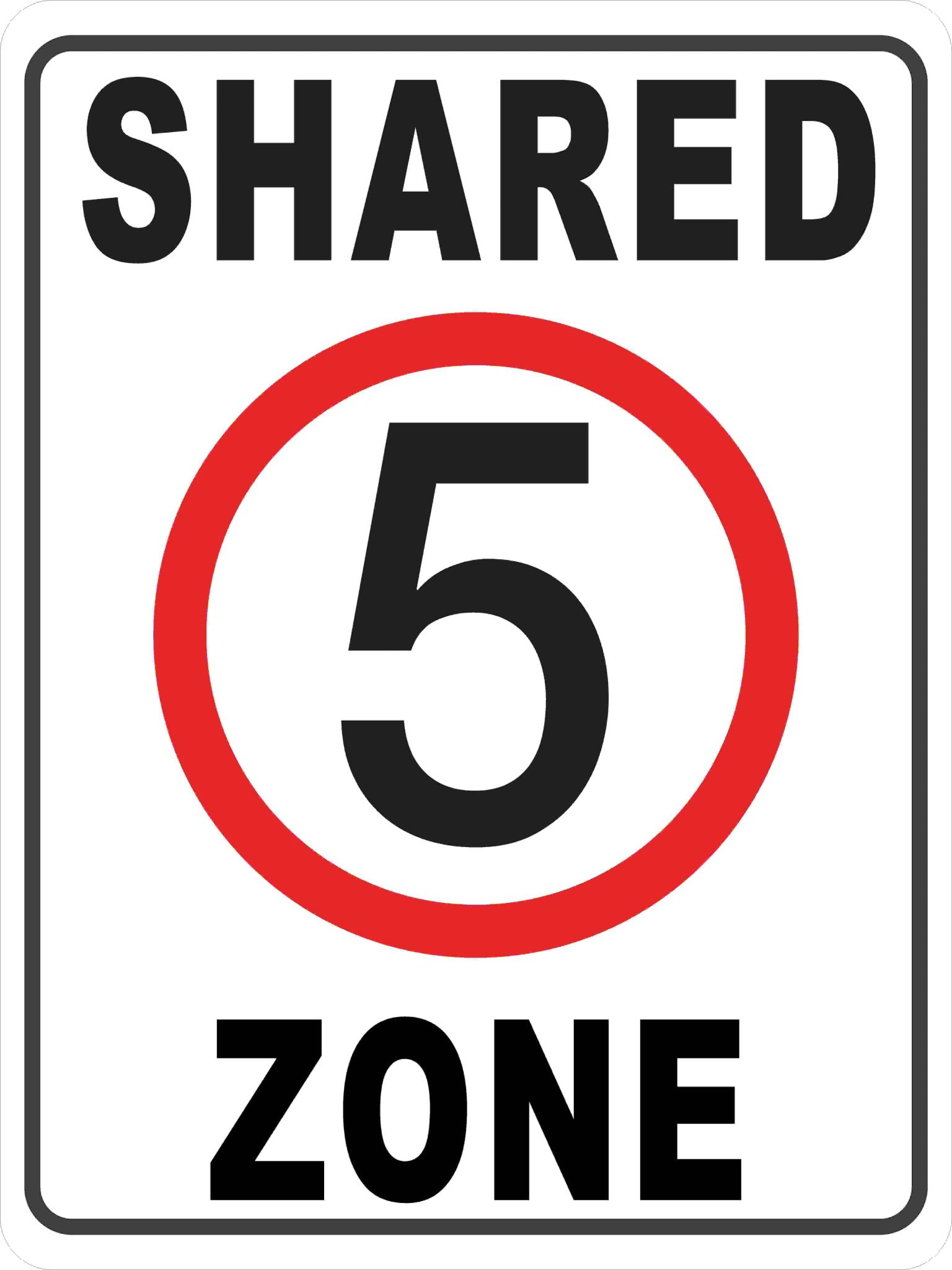 Parking Signs SHARED ZONE 5KM