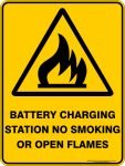 Warning Signs BATTERY CHARGING STATION NO SMOKING OR OPEN FLAMES